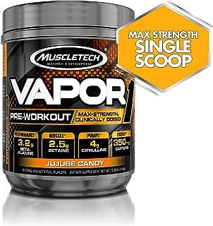 Muscletech 肌肉科技 Vapor One 锻炼前增肌粉,每勺含有盐酸甜菜碱,肌酸和丙胺酸成分,补充能量&增肌,枣软糖,20份(14.8盎司/448克)
