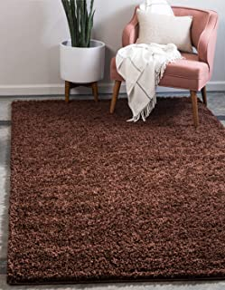 Unique Loom Solo Solid Shag Collection Modern Plush Chocolate Brown Area Rug (9' 0 x 12' 0)