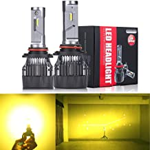 Alla Lighting S-HCR 2018 Newest Version HB4 9006 LED Headlight Bulbs High Power 10000Lm All-in-One LED 9006 Bulb Headlamp Conversion Kits HB4 9006 LED Bulbs, 3200K Amber Yellow (Set of 2)