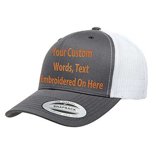f9e371362415e Custom Trucker Hat Yupoong 6606 Embroidered Your Own Text Curved Bill  Snapback