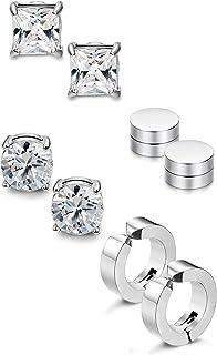 Jstyle 4 Pairs Stainless Steel Stud Earrings for Men Women Magnetic Stud Earrings Non-piercing CZ 5MM