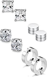 Jstyle 4 Pairs Stainless Steel Stud Earrings for Men Women Magnetic Stud Earrings Non-piercing CZ 5MM