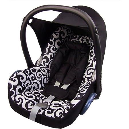 Bambiniwelt Ersatzbezug Für Maxi Cosi Cabrio Fix 6 Tlg Bezug Für Babyschale Sommerbezug Schwarz Weisse Blumen Baby