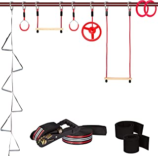 Fofana Ninja Warrior Training Equipment for Kids - 65 ft Ninja Slackline Obstacle Course for Kids with 8 Obstacles: Monkey Bars, Fitness Gymnastic Rings, Climbing Rope Ladder, Spinning Wheel