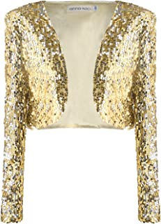 Womens Shiny Sequin Long Sleeve Cropped Blazer Bolero Shrug