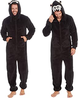 Mens Adults Gorilla Novelty Snuggle Soft Fleece Hooded Onezee Boys in One Boys Jumpsuit Flannel Polyester Rich Animal Prin...