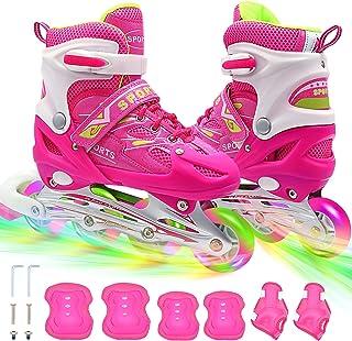 ZALALOVA Inline Skates for Kids, 4 Size Adjustable Skates with Shiny Surface and Light Up Wheels Beginner Pink Roller Skat...