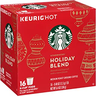 Starbucks Holiday Blend Medium Roast Ground Coffee K-Cups, 0.4 oz, 16 count