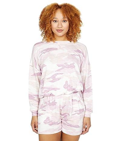 Splendid Camo Bubble Pullover Sweatshirt Women