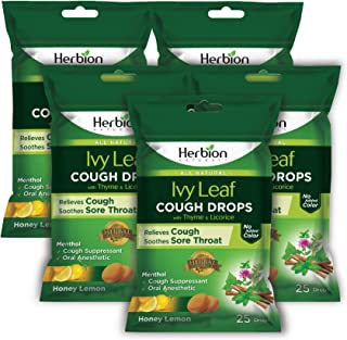 Herbion Naturals Ivy Leaf Cough Drop with Thyme and Licorice Extract 125 Counts Natural Cough Remedy | Cough Suppressant |...