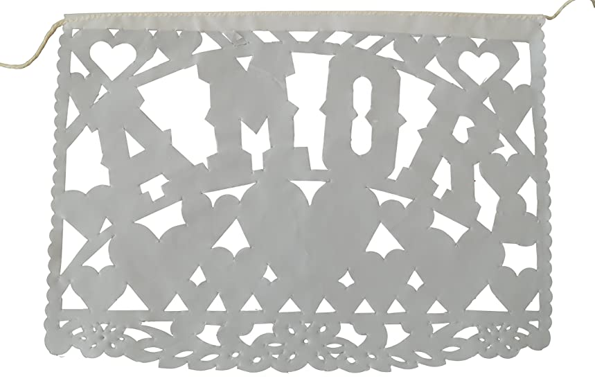 Traditional White Mexican Plastic Papel Picado Banner - Medium Size - 16 feet Long - Perfect for Weddings, Baptisms, and Birthday Parties