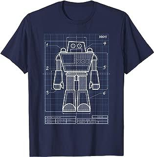 Cool Blueprint Robot Design Engineer Gift T-Shirt for Kids
