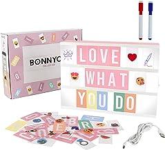 Led Lichtbak Roze met 300 Letters, Emojis & 2 Markers, USB - BONNYCO | A4 Led Lightbox Decoratie Meisjes Kamer, Babyborre...