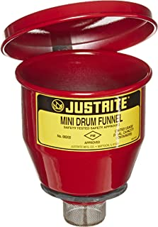 Justrite 08202 Steel Small Safety Drum Funnel with Manual Close Cover, 1 qt Capacity, 4-1/2