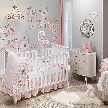 Lambs & Ivy Floral Garden Watercolor/Pink Linen 5-Piece Baby Crib Bedding Set