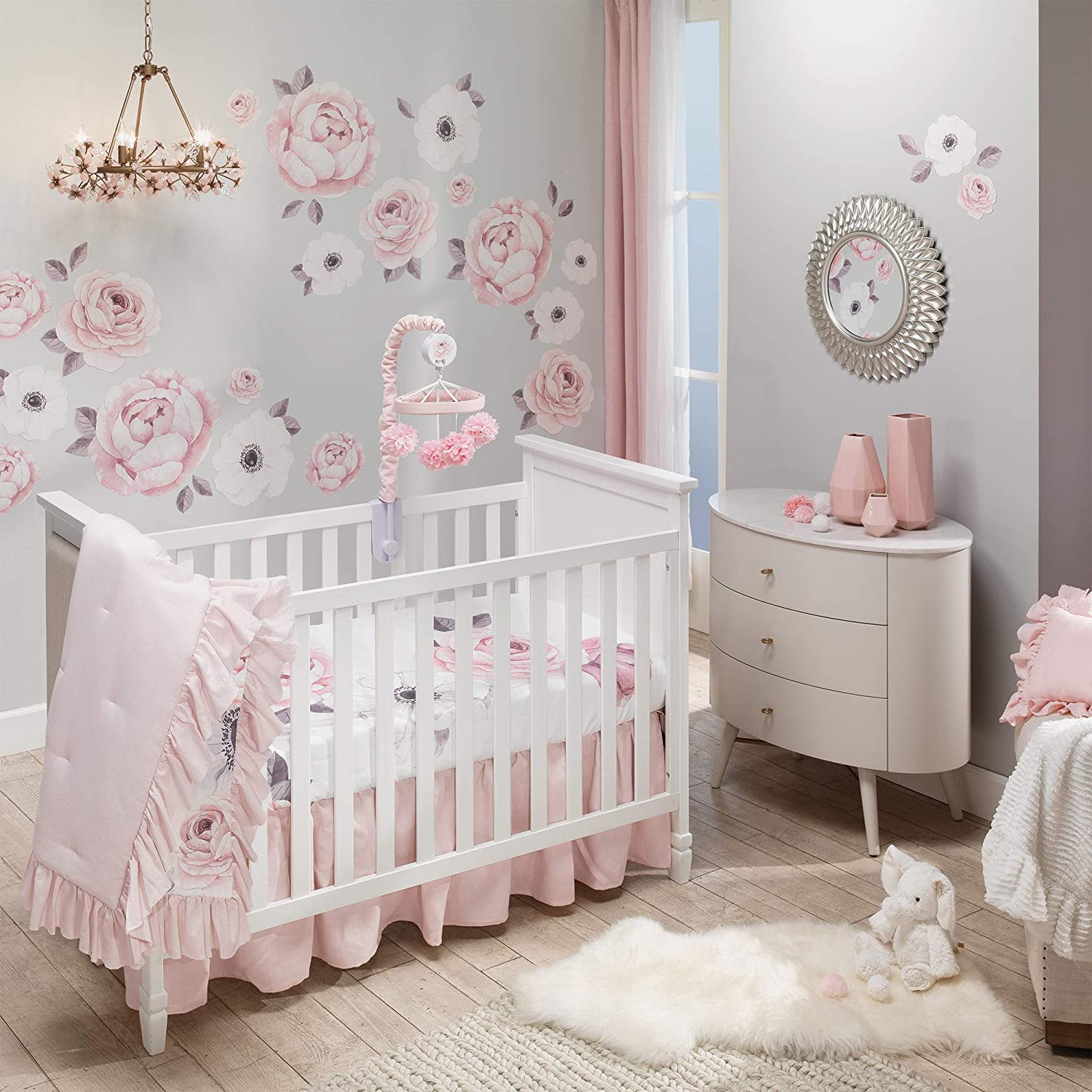 Lambs Ivy Floral Garden Max 86% OFF Watercolor Cri Pink Linen 5-Piece Year-end gift Baby