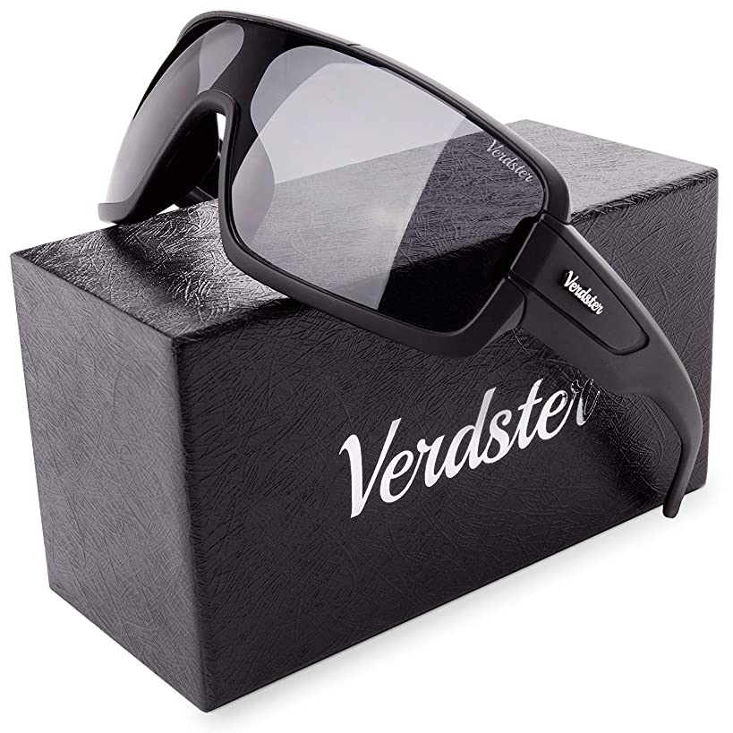 Verdster Casual Oversized Shield Sunglasses For Men - Matte Black Frame Wraparound Terminator Shades - Great for Driving & Beach use - Accessories Included