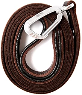 Mighty Paw Leather Dog Leash   6 Ft Leash. Super Soft Padded Handle Leather Lead with Extra D-Ring for Waste Bags. Strong ...