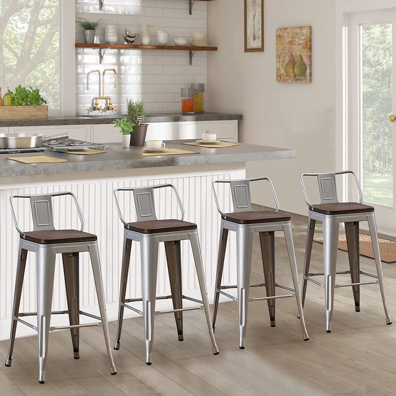 Andeworld Metal Bar Stools Set of 9 Kitchen Counter Stools Bristro  Barstools Industrial Bar Stools(29inch Silver with Wooden Seats)