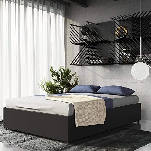 DHP Maven Platform Bed with Upholstered Faux Leather and Wooden Slat Support and Under Bed Storage, Full Size - Black