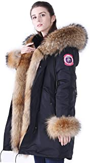 Women's Winter Fur Parka Coat Large Real Raccoon Fur Trimmed Warm Faux Fur Lined Waterproof Jacket