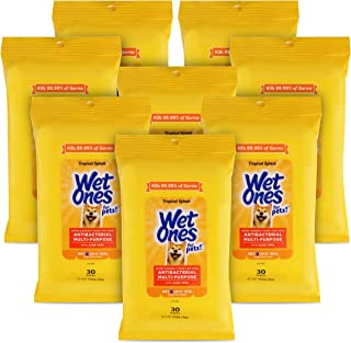 Wet Ones for Pets Antibacterial Multi-Purpose Dog Wipes With Aloe Vera, 30 ct - 8 Pack | Antibacterial Dog Wipes For All D...