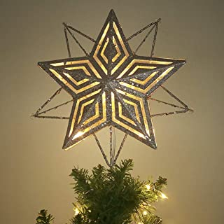 Valery Madelyn 10-Light 11.4 Inch Elegant Champagne Gold Star Treetop, Metal Christmas Tree Topper, Battery Operated (Not Included)