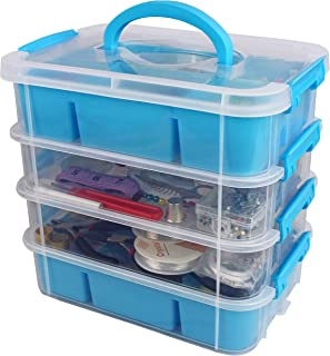 Stackable Plastic Craft Storage Containers by Bins & Things   Plastic Storage Organizer Bin with 2 Trays   Bins for Arts Crafts Supplies   Jewelry Making Storage Box   Portable Sewing Box Organizer