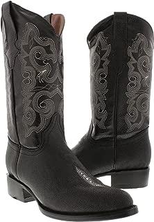 Team West - Mens Black Stingray Print Leather Cowboy Boots