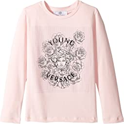 Versace Kids - Long Sleeve T-Shirt w/ Medusa Rose Design On Front (Toddler/Little Kids)