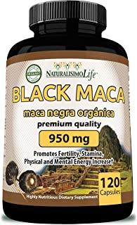 Organic Black Maca 950 mg Natural Energy Booster Peruvian Maca for Men & Women 120 Capsules