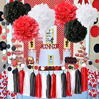 Minnie Mouse Party Supplies White Black Red Baby Ladybug Birthday Party Decorations/First Birthday Girl Decorations Tissue Paper Pom Pom Tassel Garland Minnie Mouse Birthday Party Decorations