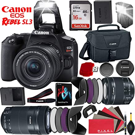 $948 Get Canon EOS Rebel SL3 DSLR Camera (Black) with 18-55mm Lens and 55-250mm Lens - 24.1 MegaPixels - 4K Video - Bundle