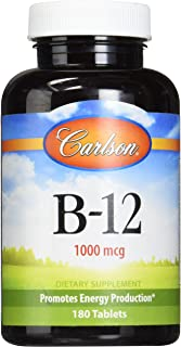 Carlson Labs B-12-SL, 1000mcg, 180 Chewable Tablets