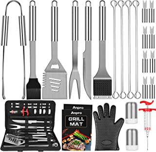Anpro Grill Accessories BBQ Set Tools, 31 PCS Stainless Steel Grilling Accessories for Smoker&Camping, Barbecue Utensil Ki...