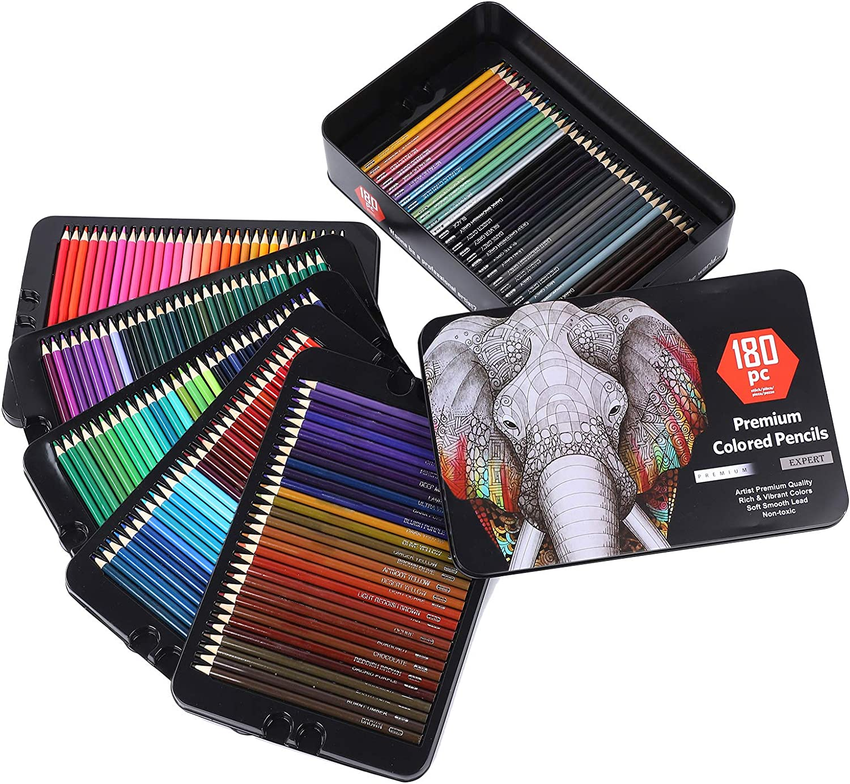 Buachois 180pcs Color National products Pencils Set Pencil NEW with Professional Metal