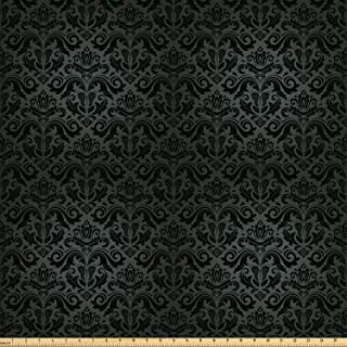 Ambesonne Dark Grey Fabric by The Yard, Black Damask and Floral Elements Oriental Antique Ornament Vintage, Decorative Fabric for Upholstery and Home Accents, 2 Yards, Black Grey
