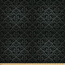 Ambesonne Dark Grey Fabric by The Yard, Black Damask and Floral Elements Oriental Antique Ornament Vintage, Decorative Fabric for Upholstery and Home Accents, 1 Yard, Black Grey