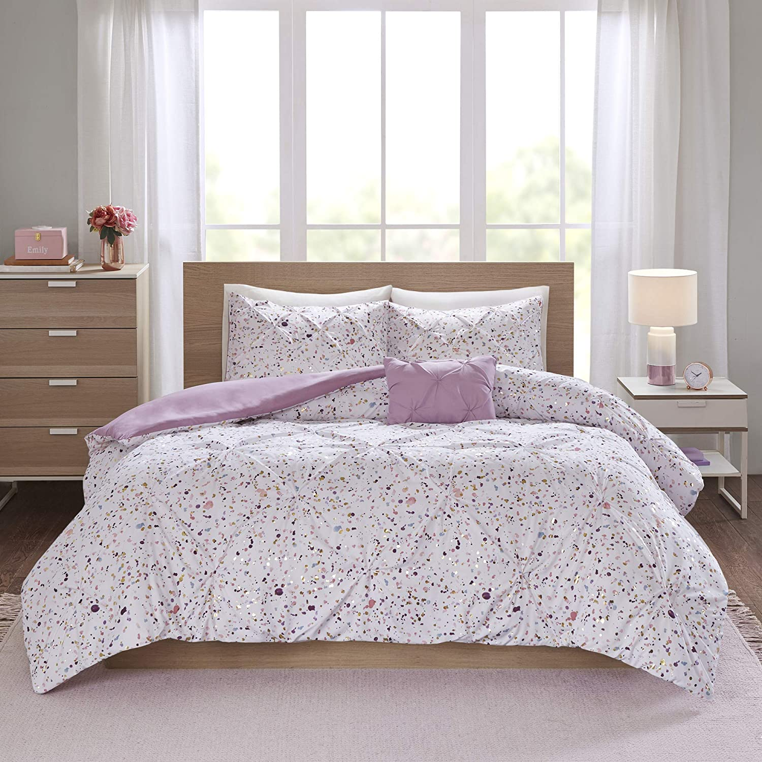 Intelligent Design Abby Metallic Printed and Super beauty product restock quality top! Max 53% OFF Cov Pintucked Duvet