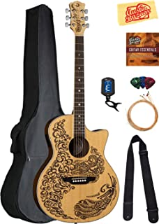 Luna Henna Paradise Select Spruce Acoustic-Electric Guitar Bundle with Gig Bag, Strap, Strings, Tuner, Picks, Austin Bazaar Instructional DVD, and Polishing Cloth