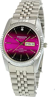 Swanson Japan Men's Stainless Steel Silver Day-Date Watch Pink Dial