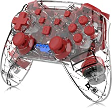Wireless Controller for Nintendo Switch, Momen Switch Pro Controller Motion Remote Controller Gamepad with Dual Shock Gyro Axis Compatible with Nintendo Switch (Transparent-red)