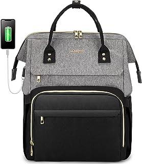 کوله پشتی لپ تاپ LOVEVOOK برای زنان مسافرتی کیف دستی کیف دستی کیف کتابی با درگاه USB مناسب لپ تاپ 17 اینچی خاکستری مشکی