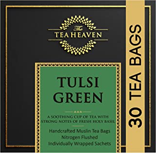 The Tea Heaven 30 Muslin Tea Bags Tulsi Green Tea 100% Natural Blended with 3 Types of Tulsi with Healing a...