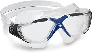 Aqua Sphere Vista Adult Unisex Goggles | Premium Quality Made in Italy - Dark Gray/Blue with Clear Lens, One Size (MS17300...