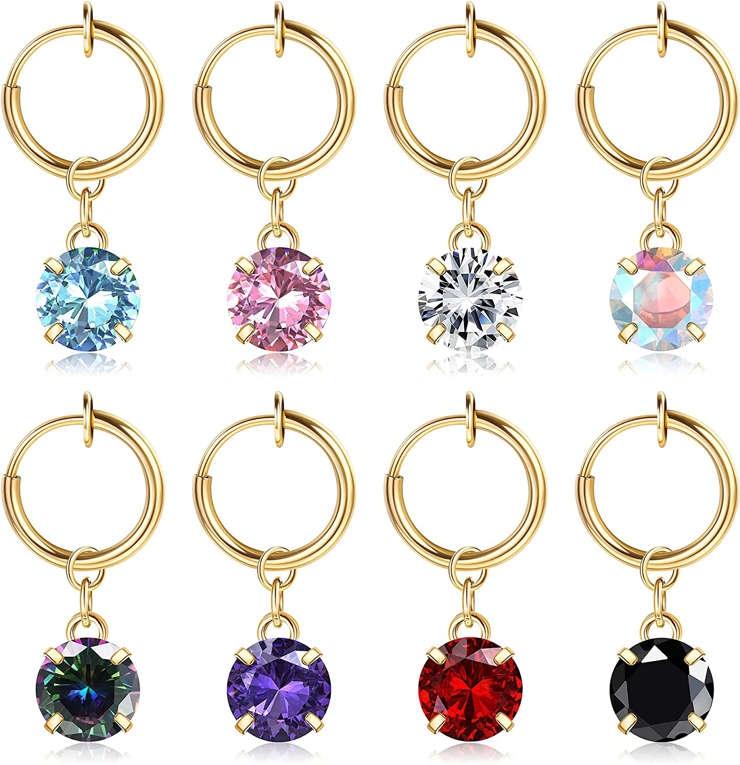 FIBO STEEL 8Pcs Fake Belly Rings Clip on Belly Button Rings Surgical Steel Non Piercing Dangle Navel Rings Fake Belly Piercing Jewelry