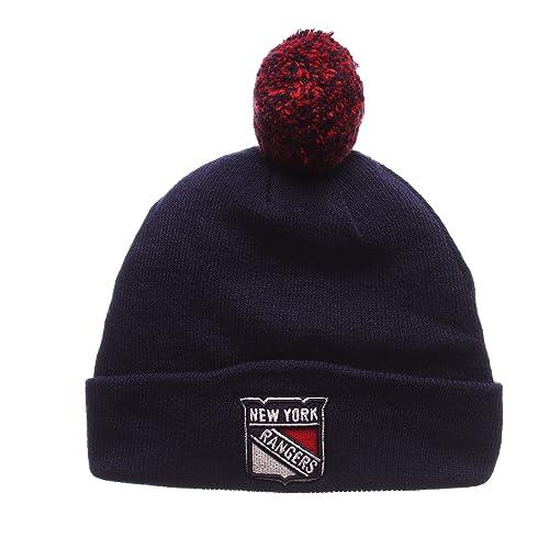 buy online e3a4c 57e41 Zephyr NHL New York Rangers Men s Pom Beanie, One Size, ...