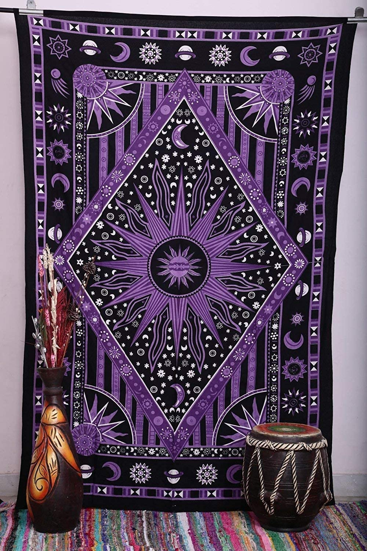 Jaipur Handloom Purple New popularity Burning Tapestry Complete Free Shipping Sun Moon Celestial