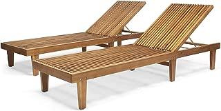 Addisyn Outdoor Wooden Chaise Lounge (Set of 2), Teak Finish