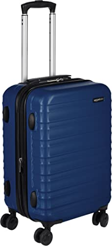 AmazonBasics Hardside Spinner, Carry-On, Expandable Suitcase Luggage with Wheels, 21 Inch, Navy Blue